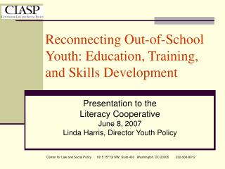 Reconnecting Out-of-School Youth: Education, Training, and Skills Development