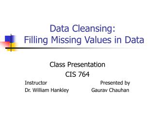 Data Cleansing:  Filling Missing Values in Data