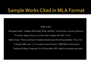 Sample Works Cited in MLA Format
