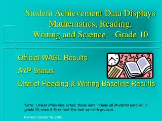 Student Achievement Data Displays Mathematics, Reading,  Writing and Science – Grade 10