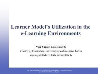 Learner  Model's Utilization in the e-Learning Environments