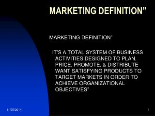 MARKETING DEFINITION""