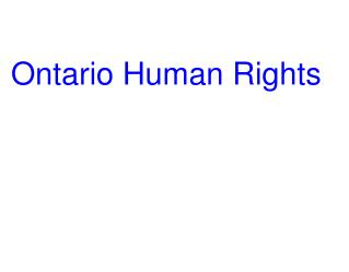 Ontario Human Rights