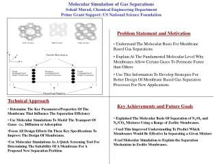 Molecular Simulation of Gas Separations Sohail Murad, Chemical Engineering Department