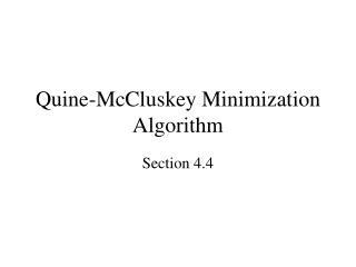 Quine-McCluskey Minimization Algorithm