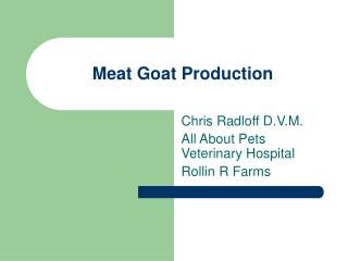 Meat Goat Production