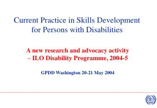 Current Practice in Skills Development for Persons with Disabilities