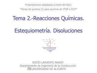 """Presentaciones adaptadas al texto del libro: """"Temas de química (I) para alumnos de ITOP e ICCP"""""""