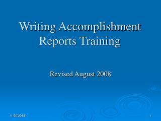 Writing Accomplishment Reports Training