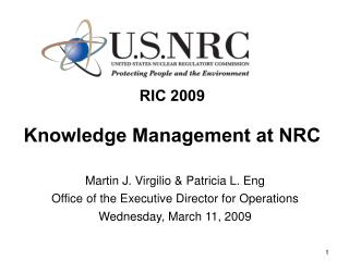 RIC 2009 Knowledge Management at NRC