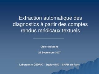 Extraction automatique des diagnostics � partir des comptes rendus m�dicaux textuels