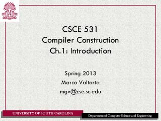 CSCE 531 Compiler Construction Ch.1: Introduction