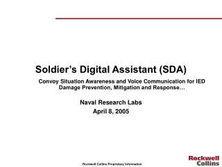 Soldier's Digital Assistant (SDA)