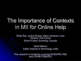 The Importance of Contexts in MII for Online Help