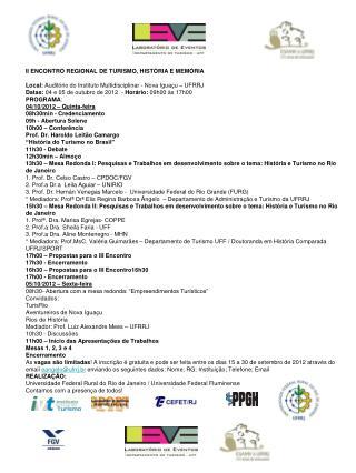 II ENCONTRO REGIONAL DE TURISMO, HISTÓRIA E MEMÓRIA