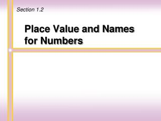 Place Value and Names for Numbers
