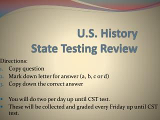 U.S. History State Testing Review