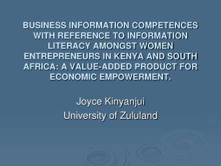 Joyce Kinyanjui University  of Zululand