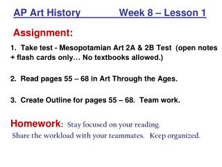 AP Art History              Week 8 – Lesson 1