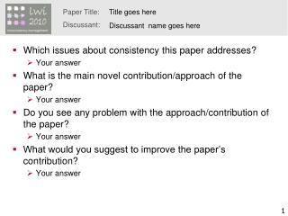 Which issues about consistency this paper addresses? Your answer