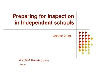 Preparing for Inspection in Independent schools