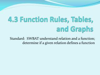 4.3 Function Rules, Tables, and Graphs