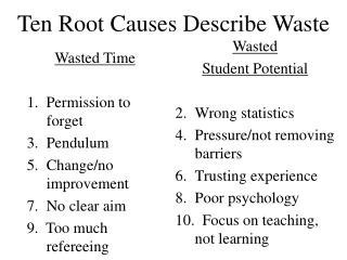 Ten Root Causes Describe Waste
