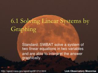 6.1 Solving Linear Systems by Graphing
