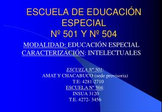 ESCUELA DE EDUCACIÓN ESPECIAL  Nº 501 Y Nº 504