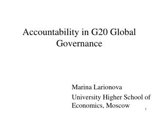 Accountability in G20 Global Governance