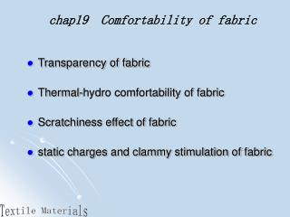 chap19  Comfortability of fabric