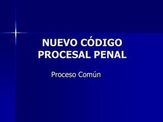NUEVO C�DIGO PROCESAL PENAL
