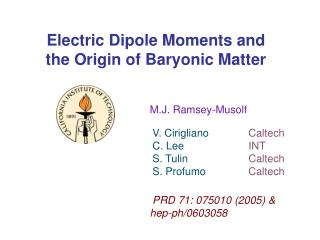 Electric Dipole Moments and the Origin of Baryonic Matter