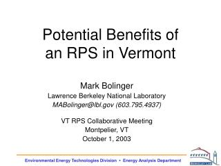Potential Benefits of an RPS in Vermont