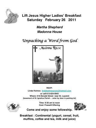 Lift Jesus Higher Ladies' Breakfast Saturday   February 26   2011