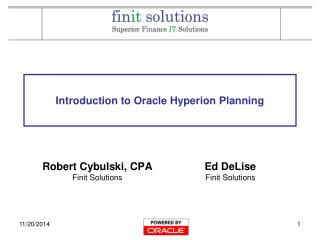 Introduction to Oracle Hyperion Planning