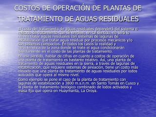 COSTOS DE OPERACIÓN DE PLANTAS DE TRATAMIENTO DE AGUAS RESIDUALES