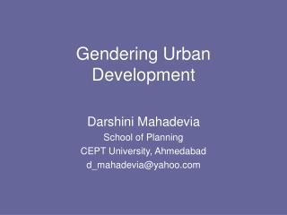 Gendering Urban Development