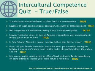 Intercultural Competence Quiz  - True/False