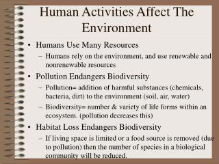 Human Activities Affect The Environment