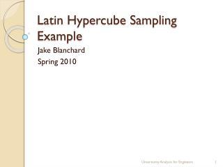 Latin Hypercube Sampling Example