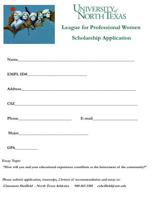 League for Professional Women        Scholarship Application