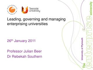 Leading, governing and managing enterprising universities