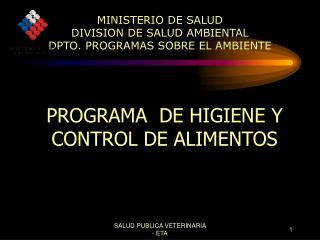 MINISTERIO DE SALUD DIVISION DE SALUD AMBIENTAL DPTO. PROGRAMAS SOBRE EL AMBIENTE