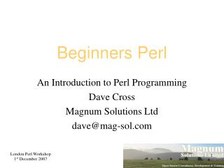 Beginners Perl