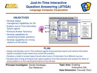 Just-In-Time Interactive  Question Answering (JITIQA) Language Computer Corporation