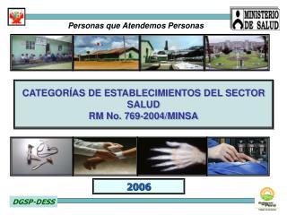 CATEGORÍAS DE ESTABLECIMIENTOS DEL SECTOR SALUD RM No. 769-2004/MINSA