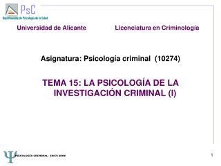 Asignatura: Psicología criminal  (10274) 