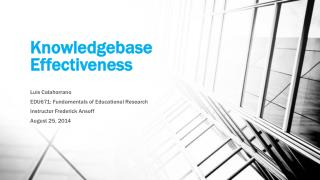 Knowledgebase Effectiveness