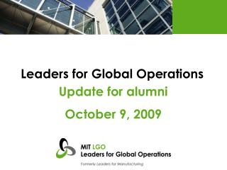Leaders for Global Operations